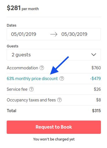 63 percent off a long term airbnb