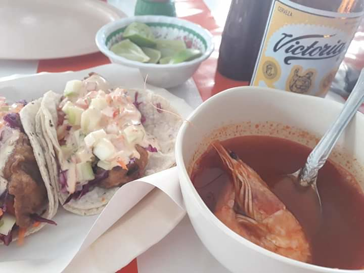 Soup and Shrimp Tacos at Tacos Paco