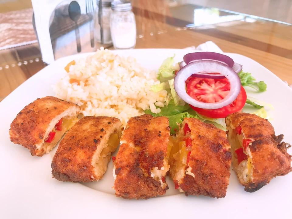 Breaded chicken stuffed with veggies at Terranova