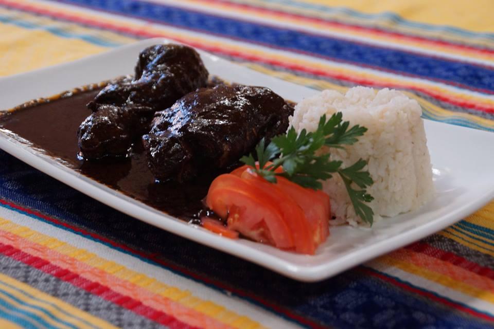 Chicken with mole negro at Sabor Antiguo