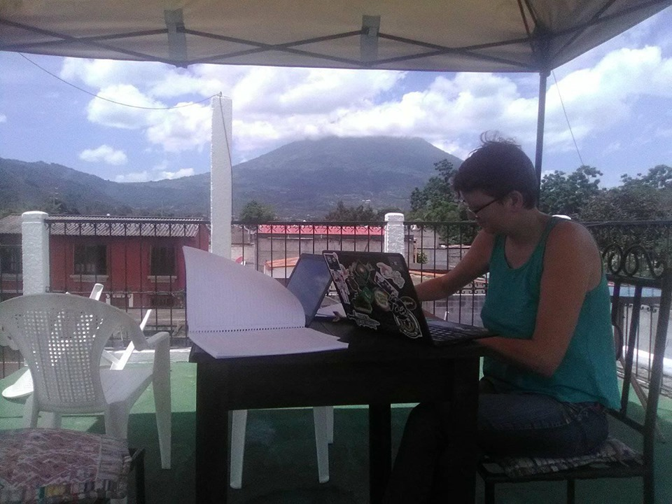 Us working on our roof in Antigua, Guatemala