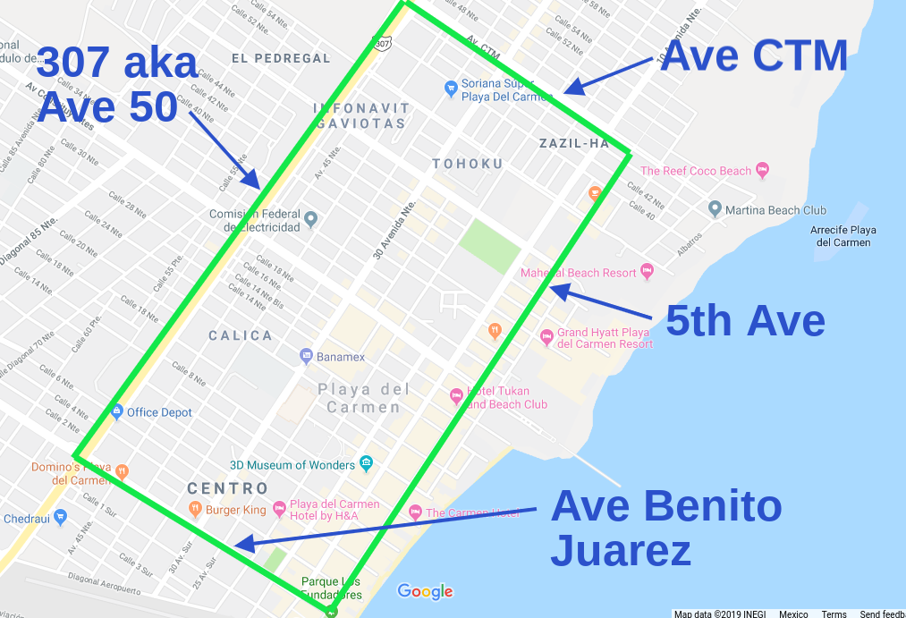 map of airbnb in playa del carmen